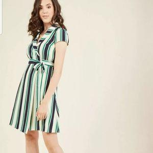 Modcloth wrap green dress XL